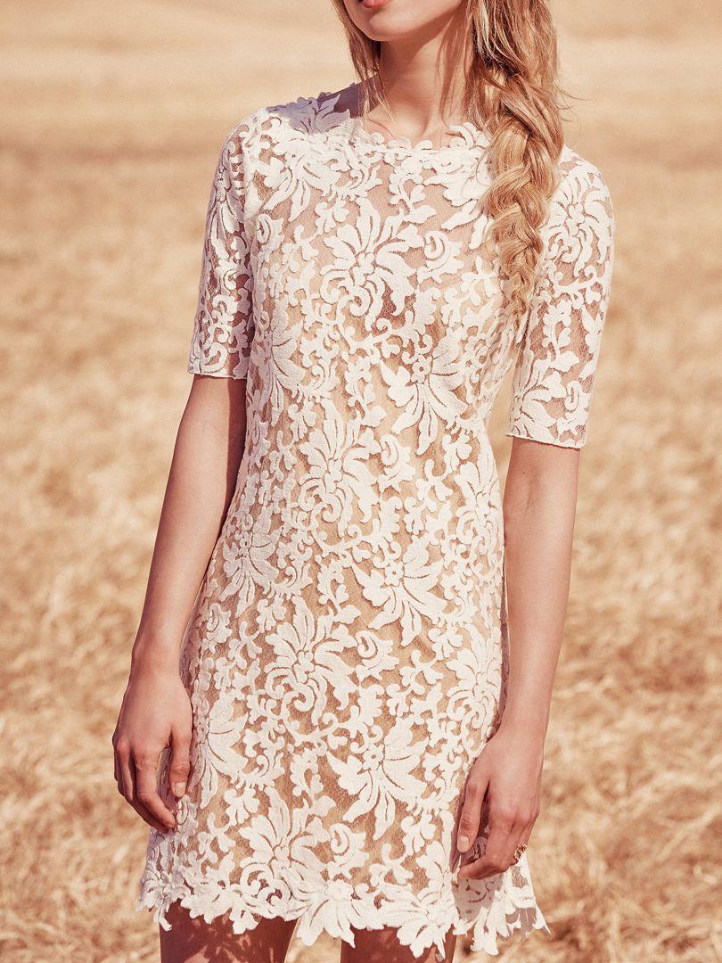 White backless half sleeve crochet lace dress shift dresses