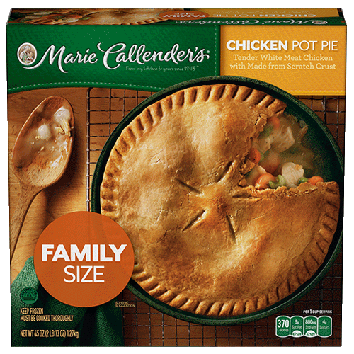 Savor the flavor of Marie Callender's Chicken Pot Pie in a family size. Enjoy chicken and veggies baked in a made-from-scratch crust.