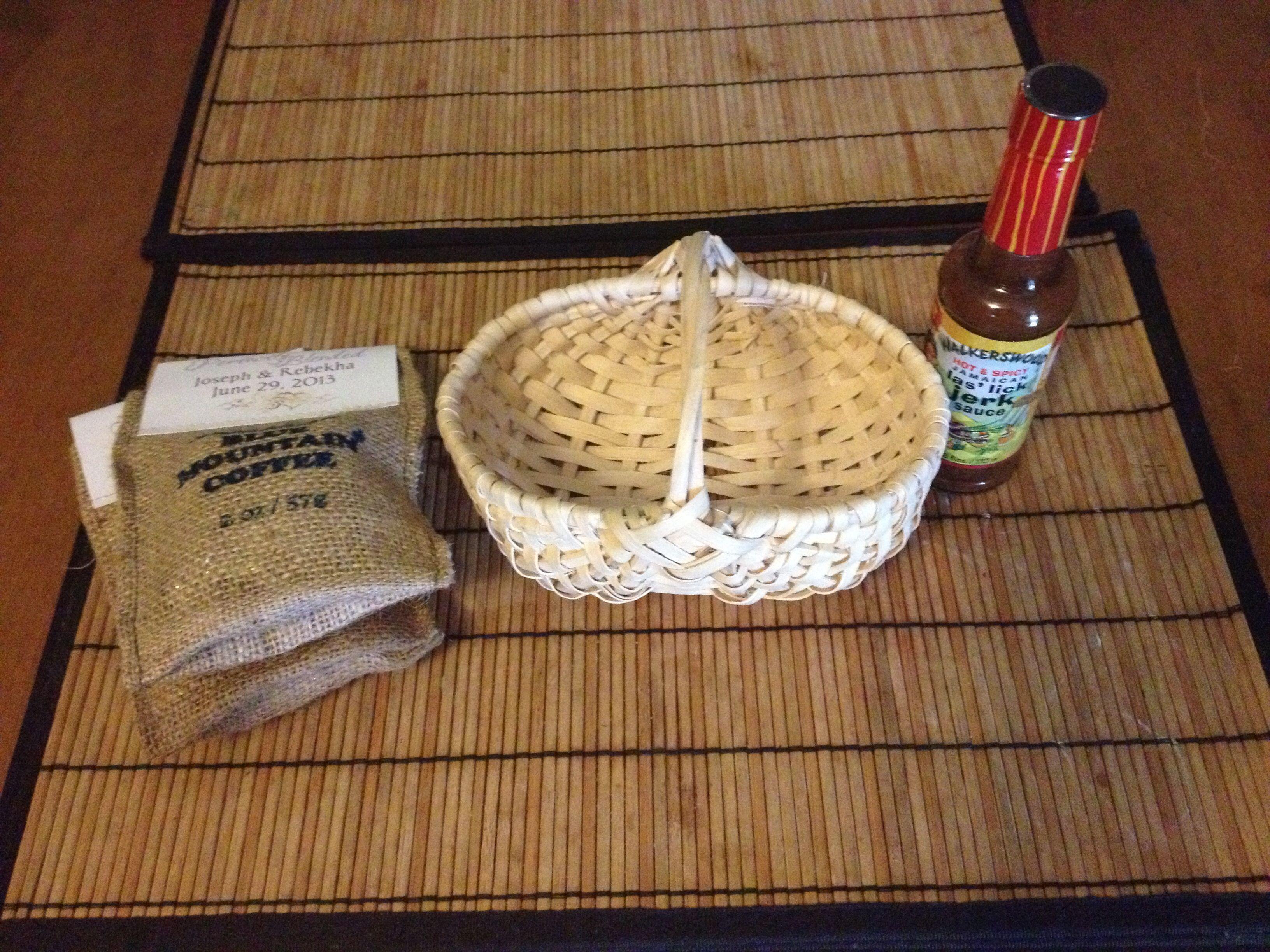 Preparing Jamaican wedding favor basket for wedding by Helen G Events Jamaica