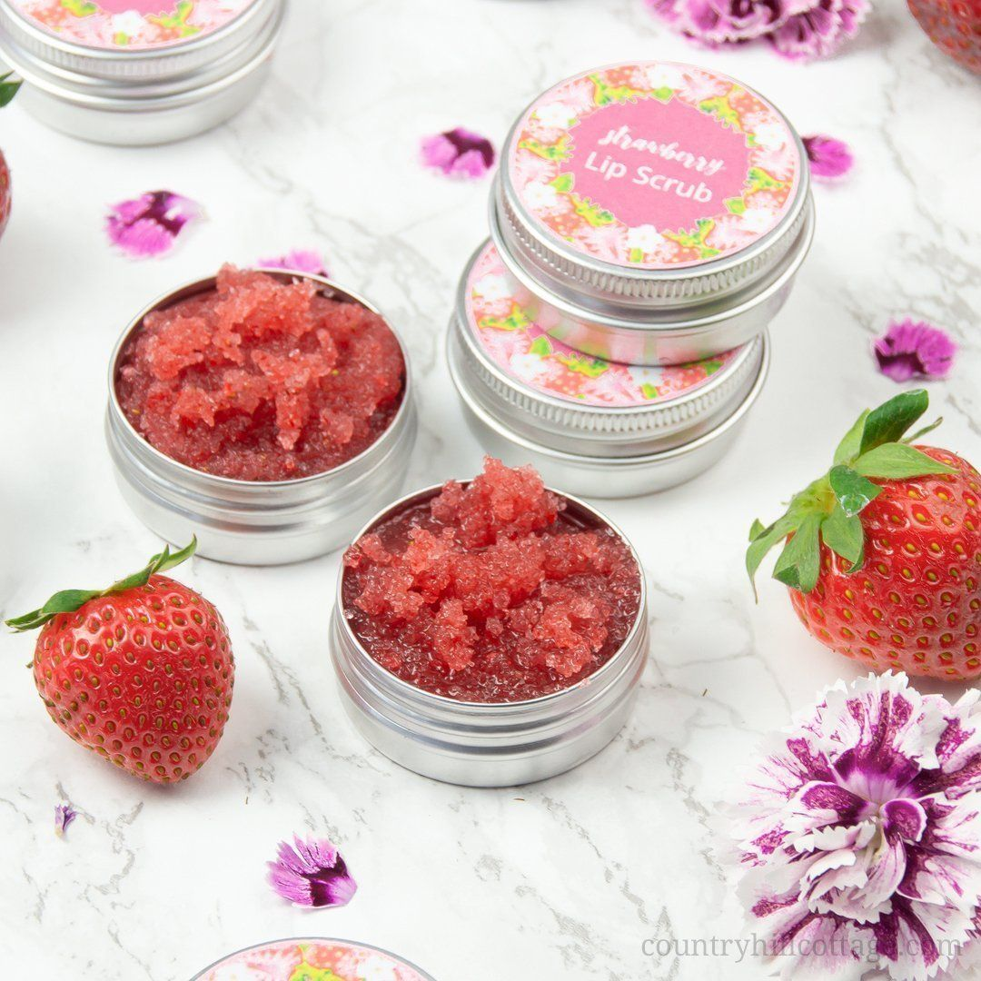 Easy Strawberry DIY Lip Scrub with Coconut Oil for Smooth & Healthy Lips #lipscrubs