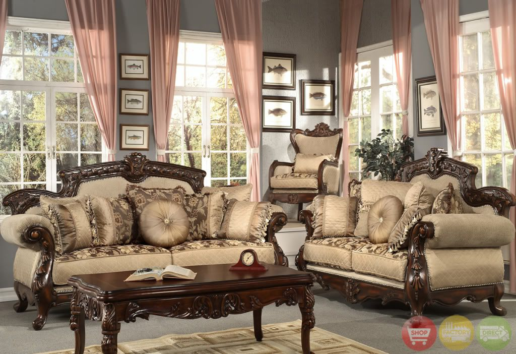 Formal Antique Style Luxury Sofa U0026 Love Seat Chenille Living Room Set HD 296