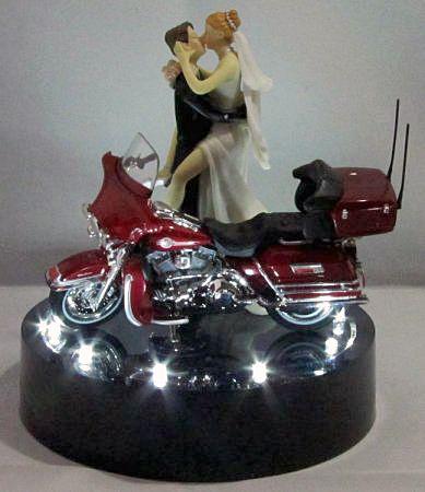 214 Motorcycle Wedding Cake Topper Wit Harley Davidson Lit