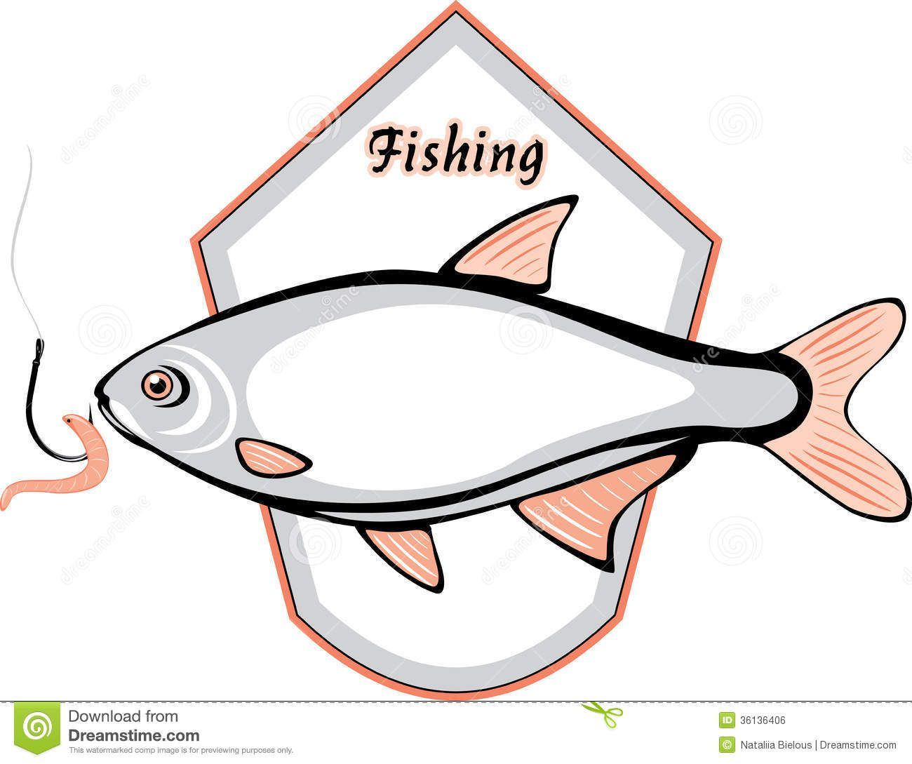 Fish And Fishing Hook With A Worm Label For Desig Royalty