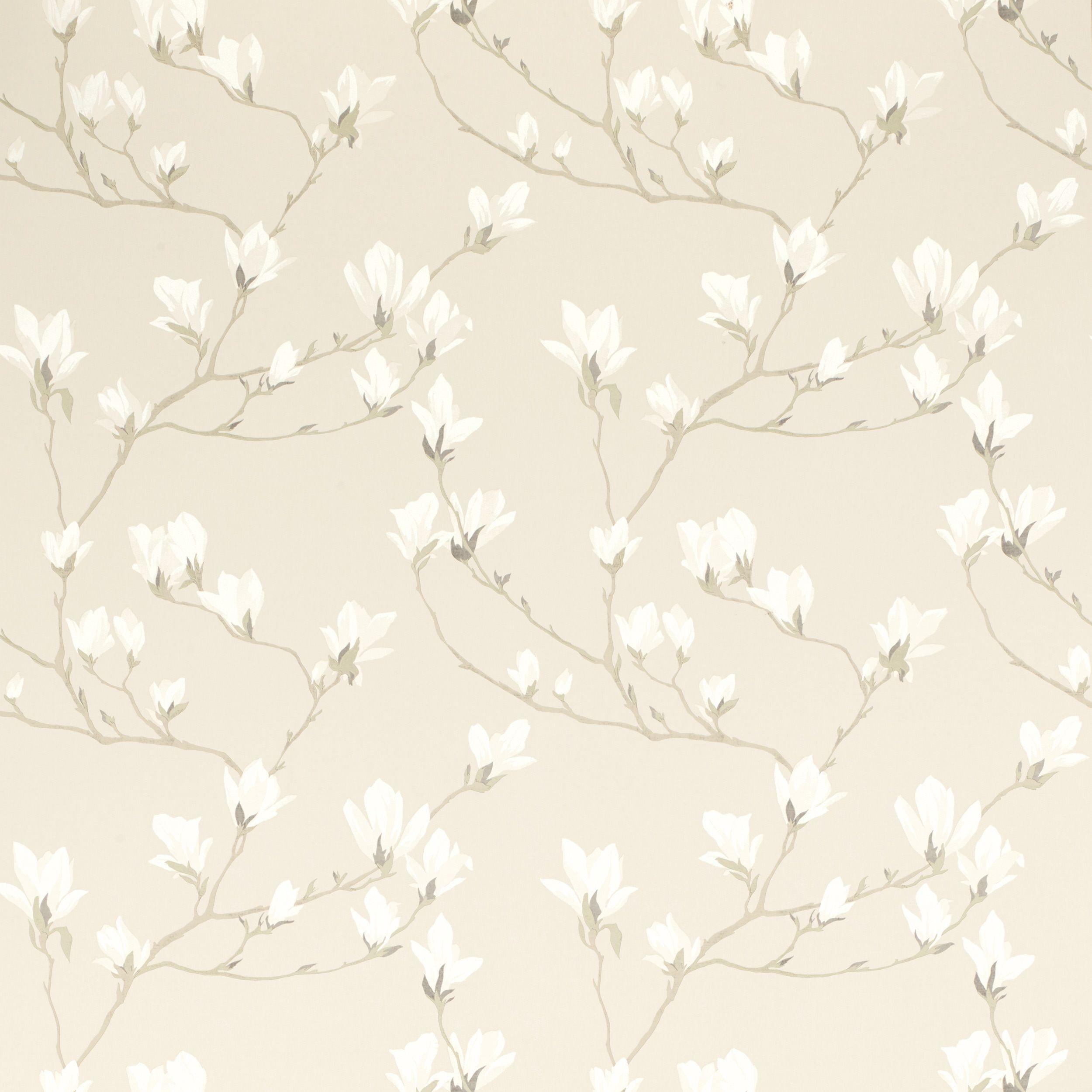 Magnolia Grove Natural Wallpaper at Laura Ashley Bedroom