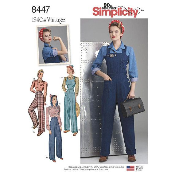 8447, Simplicity, Women\'s, Rosie the Riveter, Overalls Pattern ...