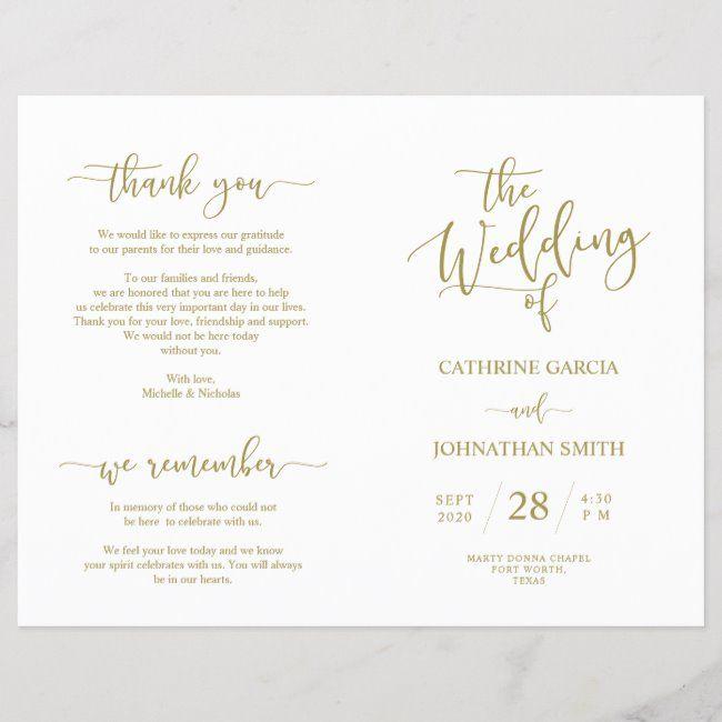 Wedding Ceremony Program, Elegant Script Gold #Ad