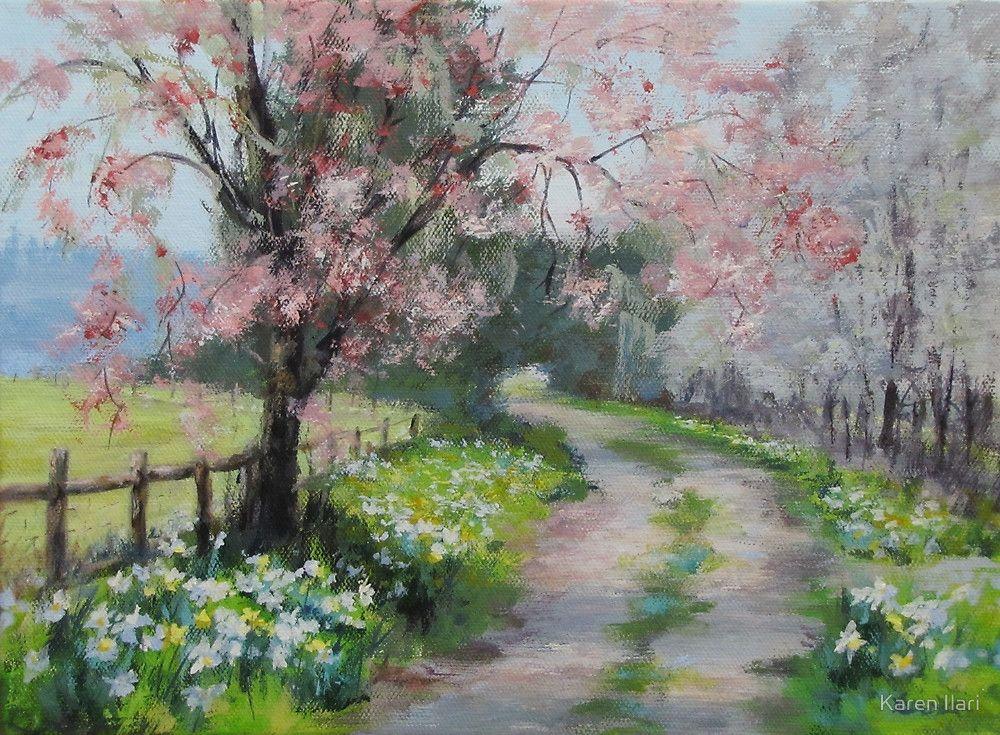 Original Acrylic Landscape Painting Spring Walk By Karen Ilari Spring Painting Spring Landscape Landscape Paintings