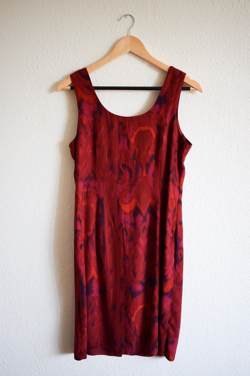 Vintage s marble print red midi dress s dark red abstract
