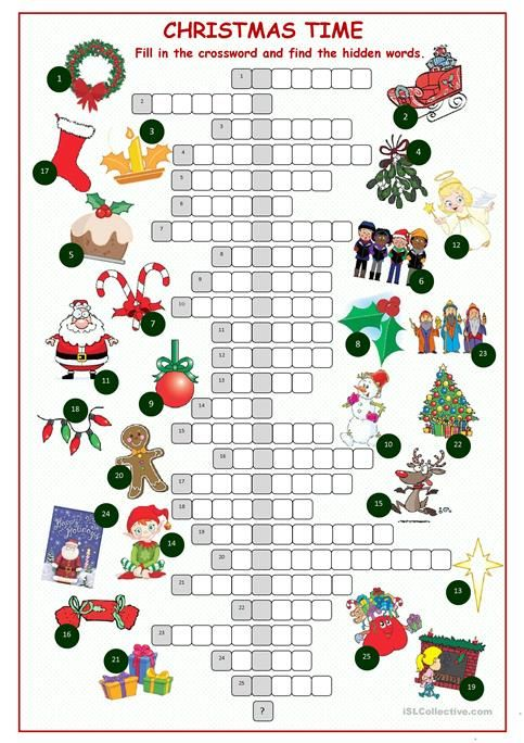 Clever image inside holiday crossword puzzles printable