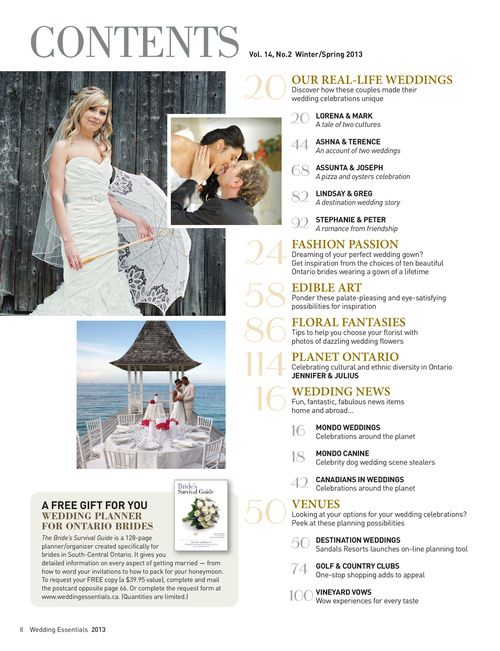 Wedding Magazine Contents Page Google Search My Design Content
