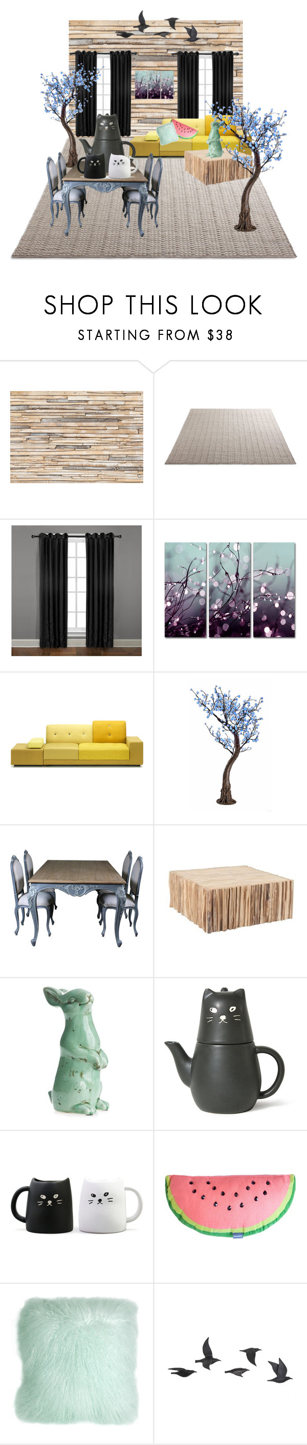 """""""Living"""" by tessa-janson ❤ liked on Polyvore featuring interior, interiors, interior design, home, home decor, interior decorating, Brewster Home Fashions, Veratex, Trademark Fine Art and Polder"""