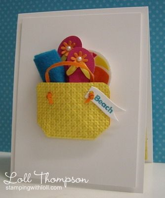"Crafter used Surf's Up! Shapeabilities to make the flip-flops and beach ball ... and rolled up a piece of bright blue felt for the ""towel"". She made beach bag using the Square Lattice embossing folder, shaping and gluing the embossed yellow cardstock into the shape of a bag and adding orange suede strips for the handles. Then added a small flag with the only stamping on this card ""beach"""