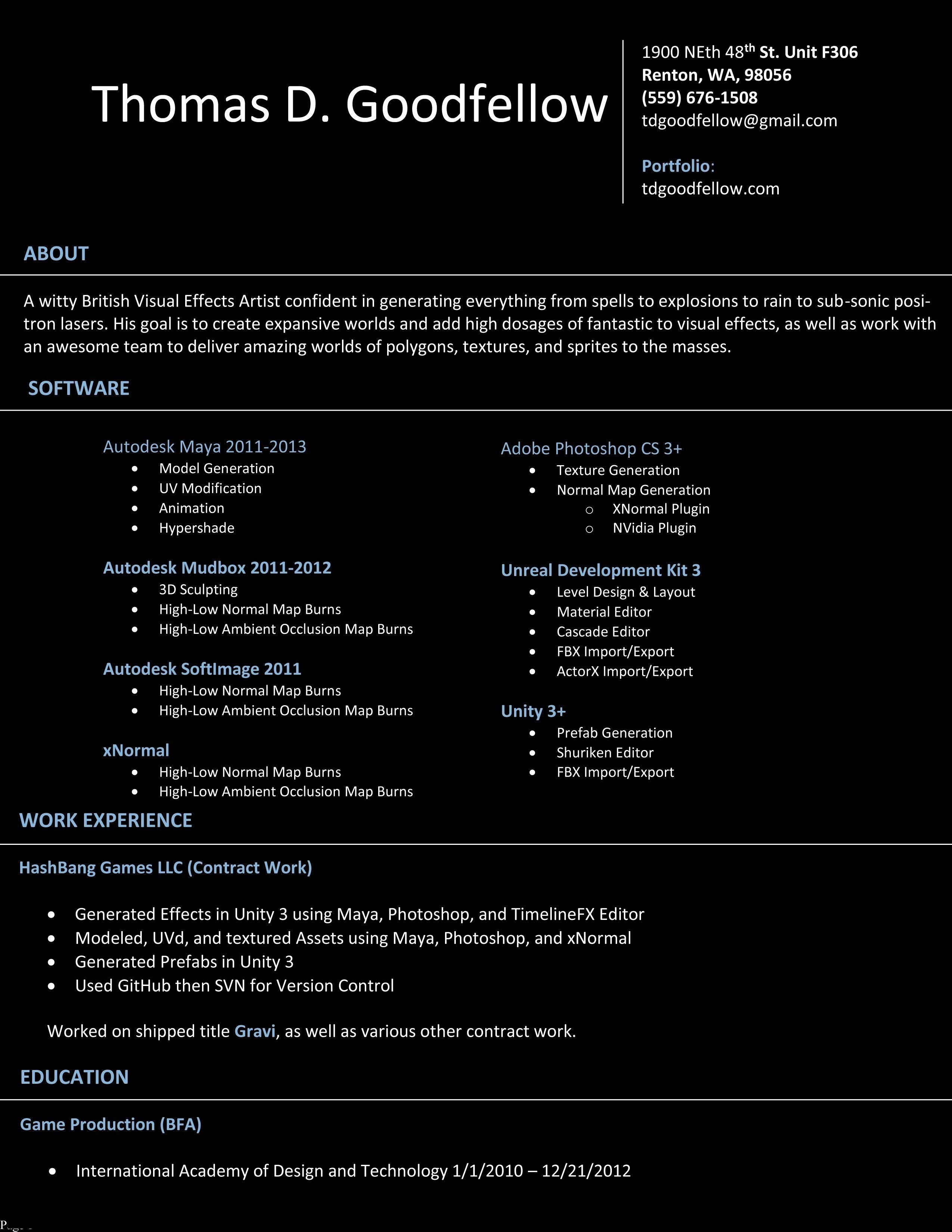 vfx resume samples