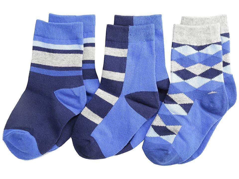Jefferies Socken Argyle Stripe Crew Socken 3er Pack (Kleinkind / kleines Kind / großes Kind)