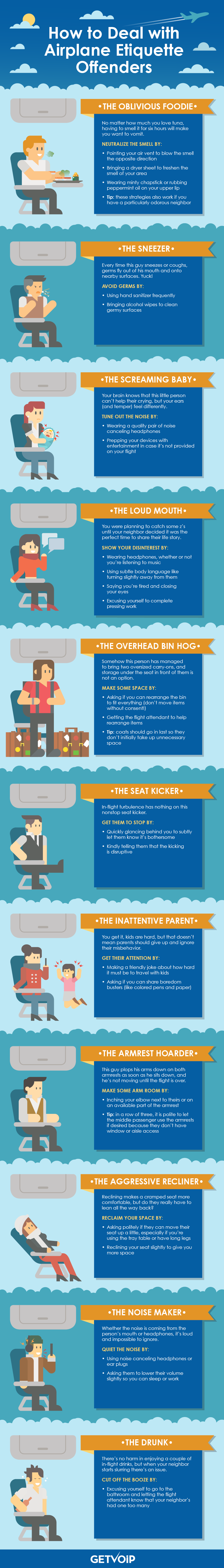 How to Deal With Airplane Etiquette Offenders #Infographic