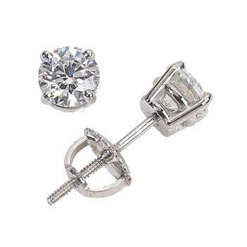 Costco Round Brilliant Diamond Stud Earrings 1 00 Ctw Platinum