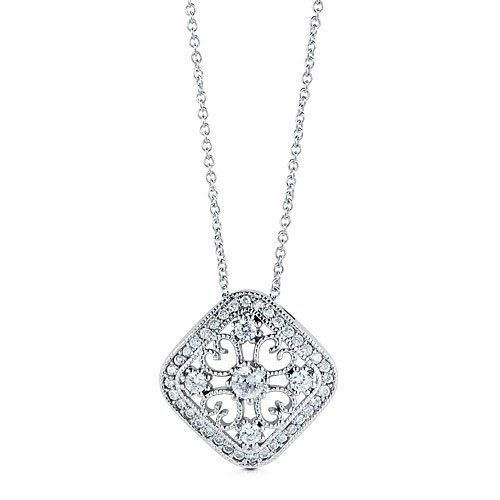 BERRICLE Sterling Silver Square Art Deco Pendant Necklace in Cubic Zirconia CZ