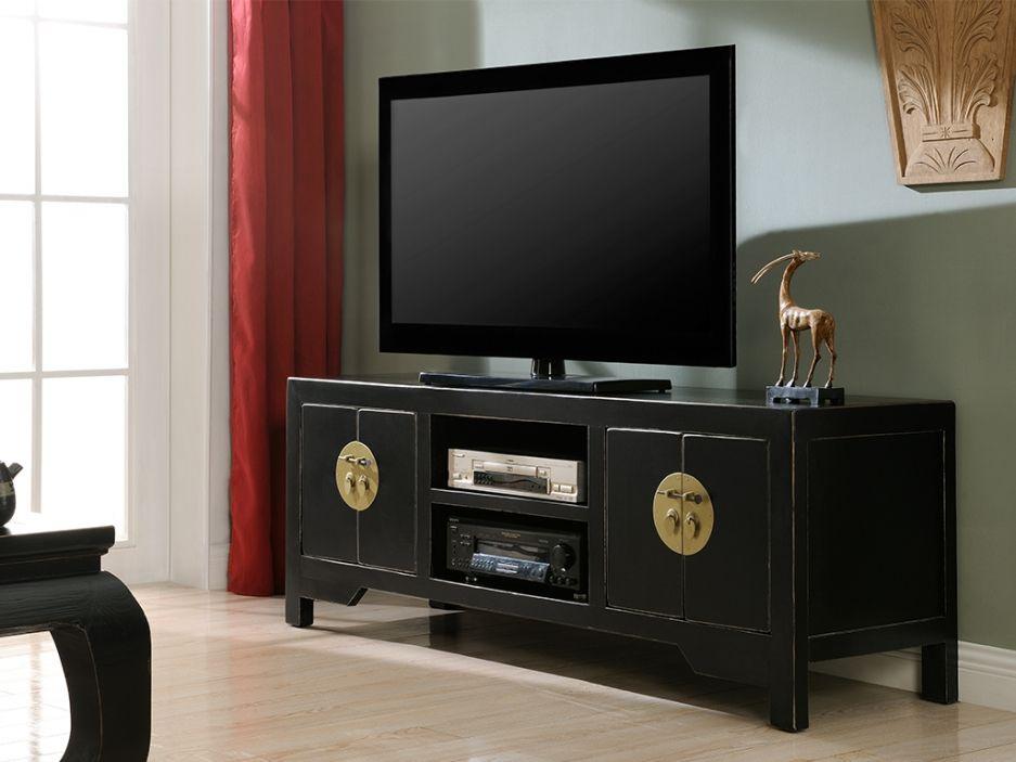 Meuble Tv Foshan 4 Portes 2 Niches Bois D Orme Noir Styles