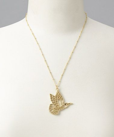 Take a look at this Gold Hummingbird Necklace by LAVISHY on #zulily today $12 !!!
