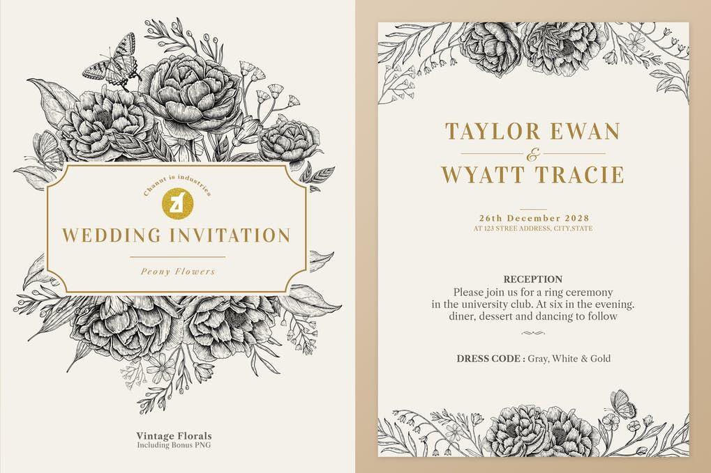 Old Printable Vintage Wedding Invitation In Moss Green Wedding Invitation Wording Templates Silver Wedding Invitations Vintage Wedding Invitations Templates
