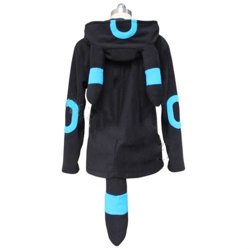 Anime Pokemon Shiny Umbreon Women Men Zip Hoodie with Ears Tails ...