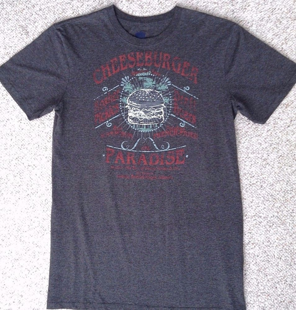 CHEESEBURGER IN PARADISE SONG LYRIC T-SHIRT Charcoal Dark Gray Jimmy Buffett MED #Hanes #GraphicTee