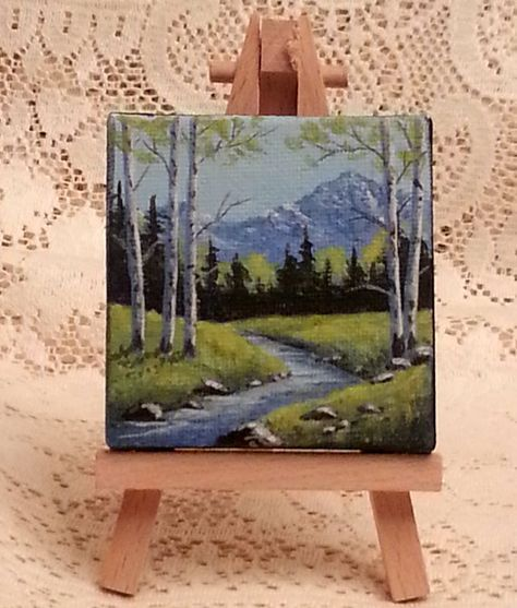 Miniature landscape painting of springtime in por WindOnThePrairie