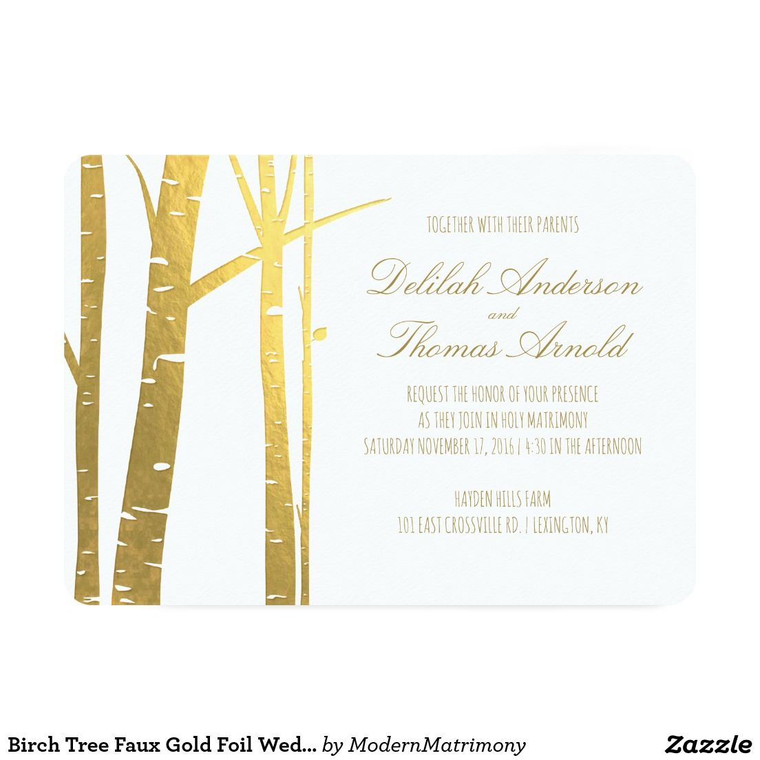Birch Tree Faux Gold Foil Wedding Invitation Zazzle Goldfoil