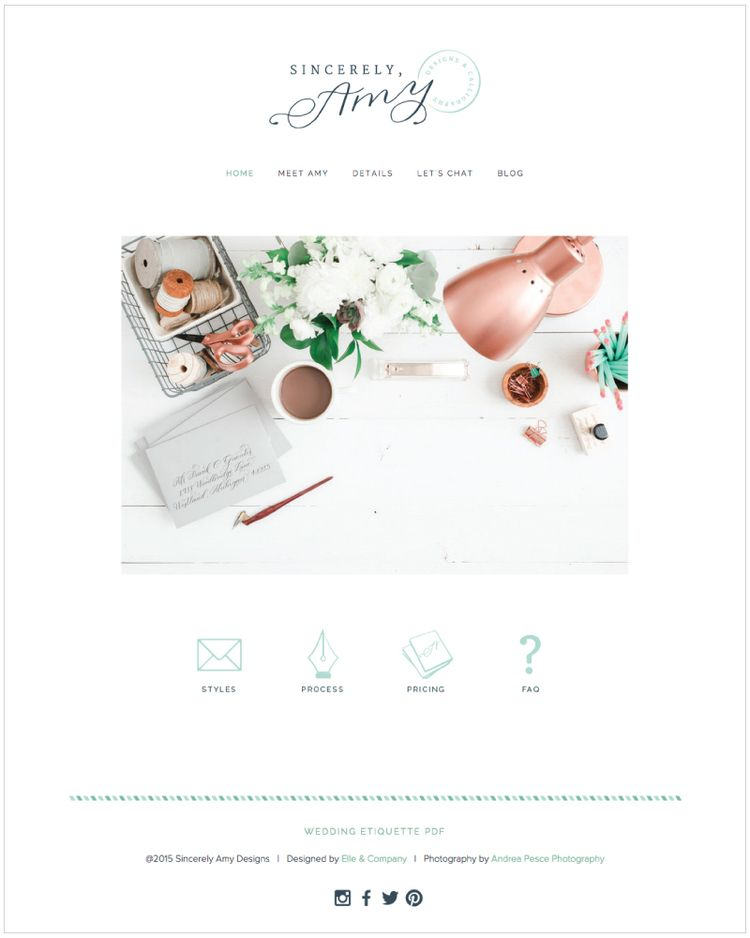 Website for Sincerely Amy Designs // Branding & Site Design by Elle & Company