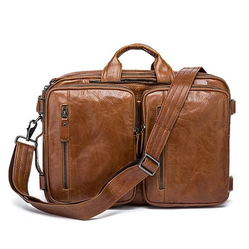 d03b0e9f5518 Genuine Leather Large Double Pocket Briefcase in 2019