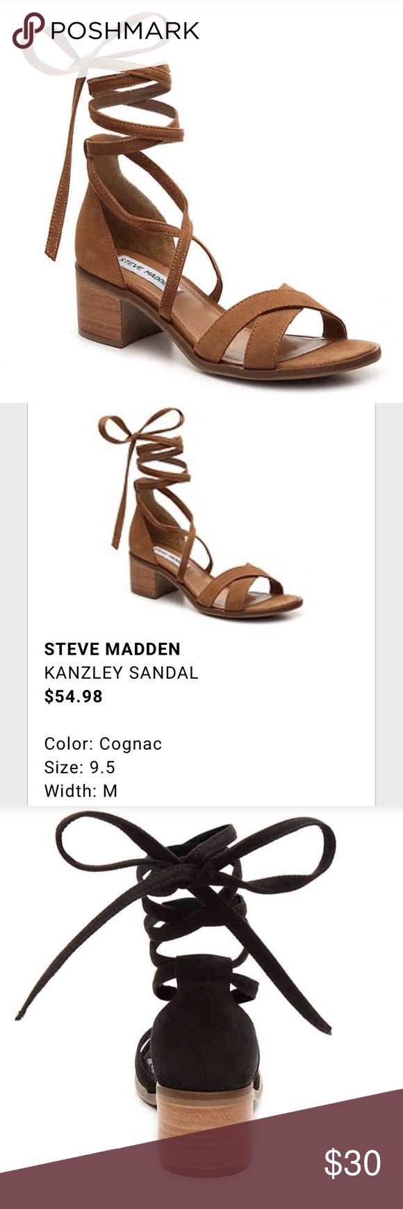 efc0f56dcd7 Steve Madden kanzley sandal low heel tie up cognac Steve Madden kanzley  sandal in cognac