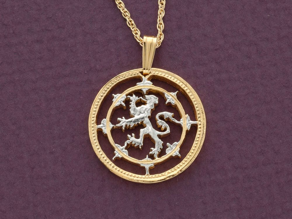 scottish lion pendant and necklace one pound scottish issue coin