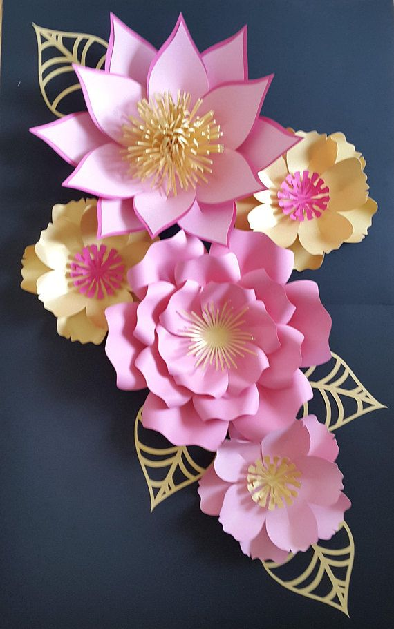 Como Hacer Flores Con Hojas De Papel 1 Set Of Paper Flower Collage In Light Pink Gold And Dark Pink