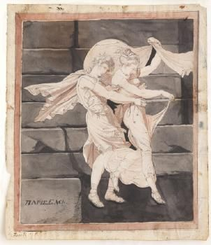Aphrodite carrying off Paris after his battle with Menelaus is part of Aphrodite, Paris, Ancient world history, Art, Carry on, Artwork - Henry Fuseli  Aphrodite carrying off Paris after his battle with Menelaus