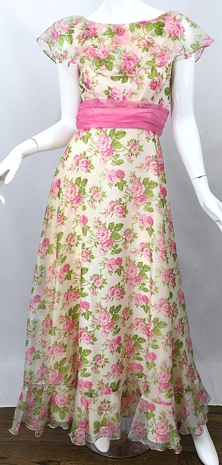 Sylvia Ann 1970s Rose Print Pink Ivory Chiffon Vintage 70s Maxi Dress Gown In 2021 70s Maxi Dress Prom Dresses Vintage Dresses [ 1608 x 768 Pixel ]