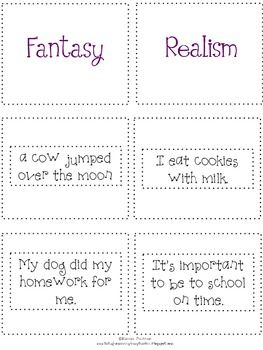 Reality and Fantasy: Flipchart and Worksheets by Flipping For First