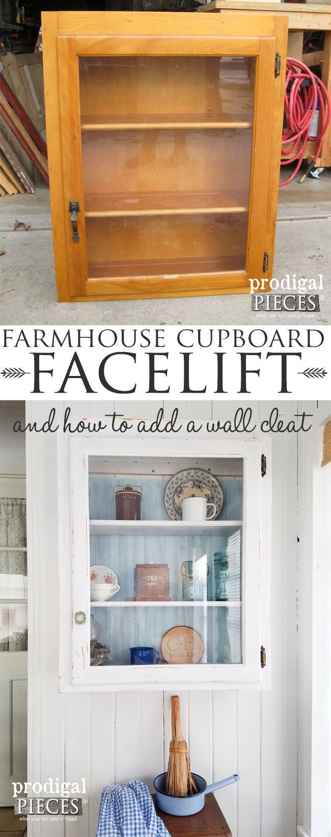 Farmhouse Cupboard Makeover with Tutorial on Adding a Wall Cleat by Prodigal Pieces | prodigalpieces.com