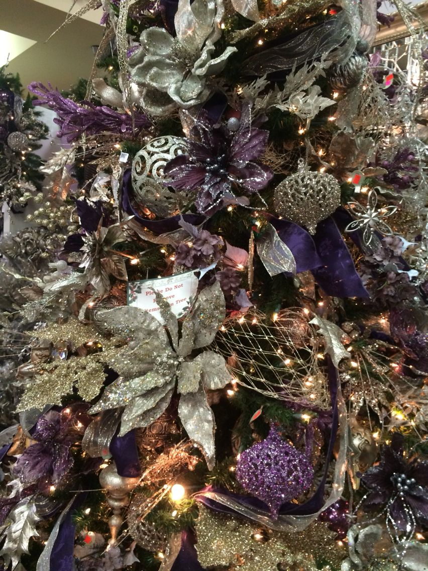 beautiful professionally decorated christmas tree one more close up decor colors ice purple light purple some ice blue silver and white - Professionally Decorated Christmas Trees Pictures