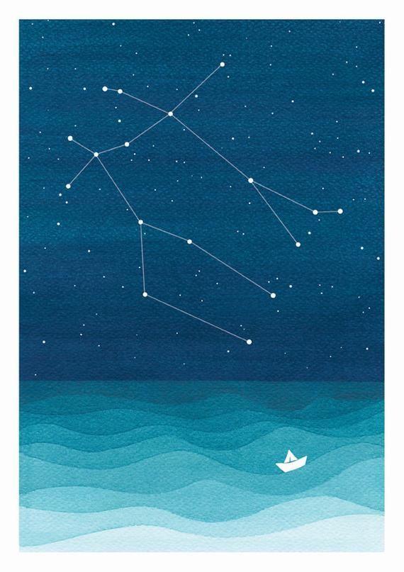 Watercolor painting Gemini Constellation giclee print nautical wall decor starry night sky ho Watercolor painting Gemini Constellation giclee print nautical wall decor st...