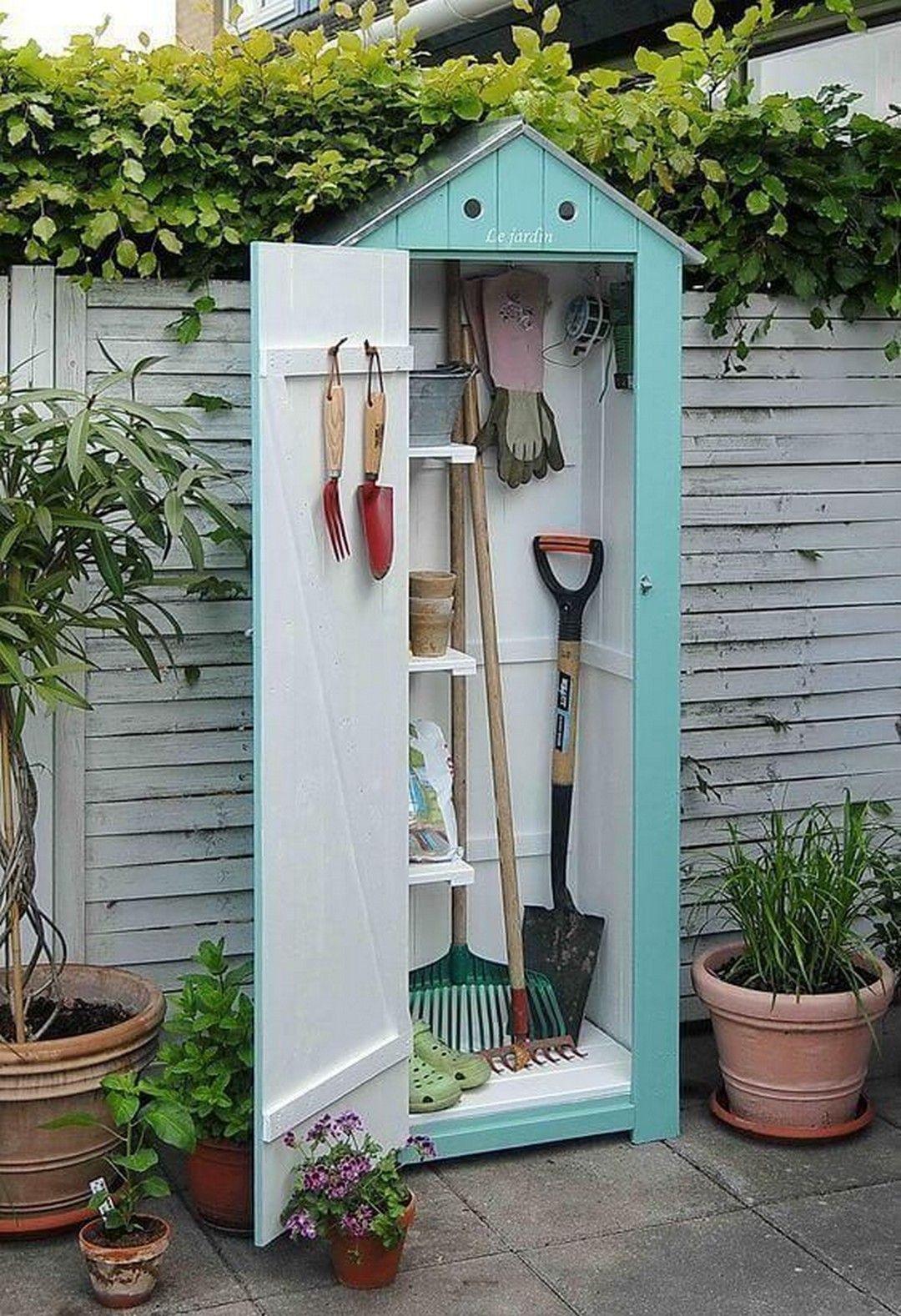 33 Diy Garden Tool Storage Idea That Will Save Your Sanity Small Backyard Design Backyard Design Small Backyard Backyard garden tool storage