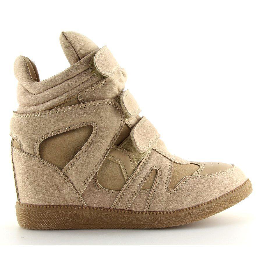 Sneakersy Damskie Bezowe Bz8386 Kb Khaki Bezowy Wedge Sneaker Shoes Sneakers