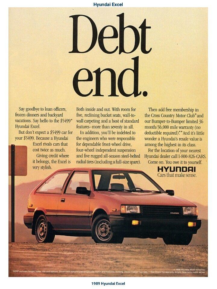 1989 Hyundai Excel Hyundai Hyundai Accent Car Advertising