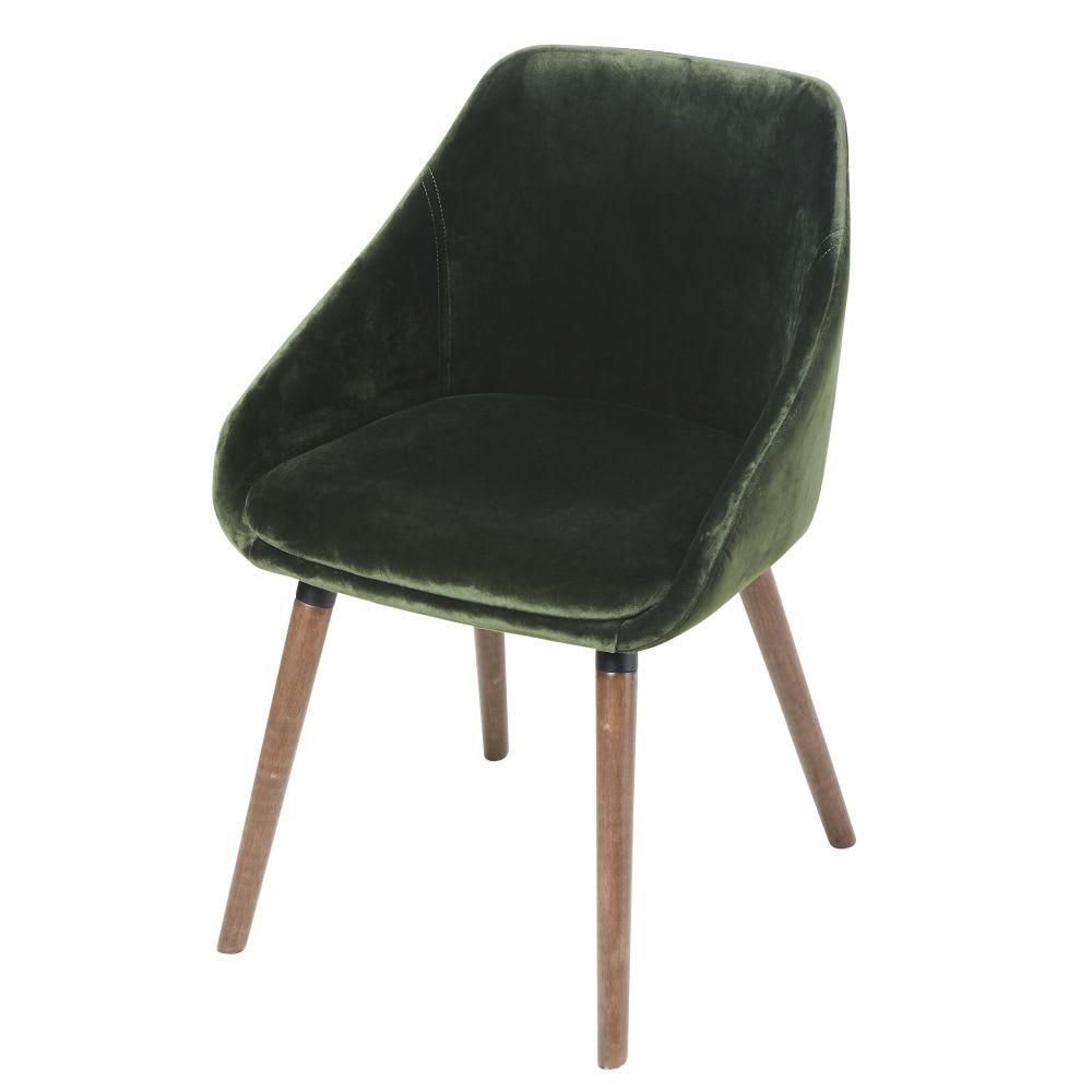 Sedia In Velluto Verde E Legno Di Hevea Orwell Stuhle Holz Flur Mobel