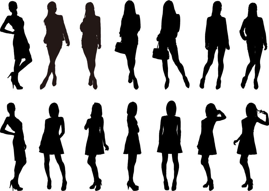 フリーイラスト 14人の女性のシルエットでアハ体験 Gahag 著作権