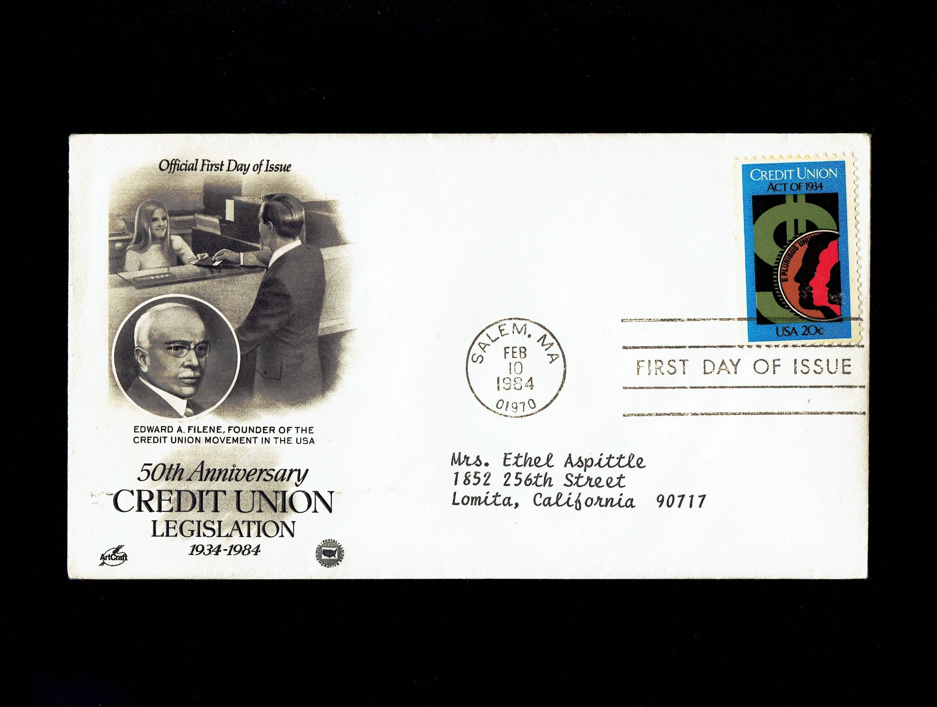 US 2075 Credit Union Act of 1934 Feb 10, 1984 Salem MA First Day Cover lot #F2075-1 by VicsStamps on Etsy