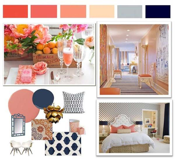 Inspiration For Working With Peach 50s Tile...accent With Navy Images