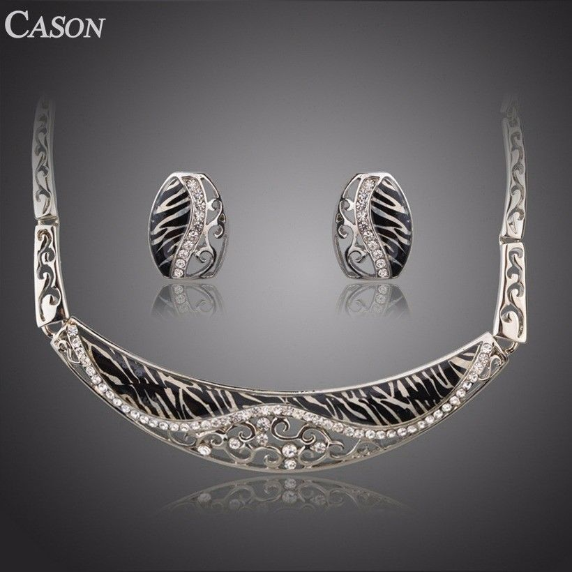 White Gold Hollow Flower Carving Leopard Collar Necklace & Earrings Jewelry Set
