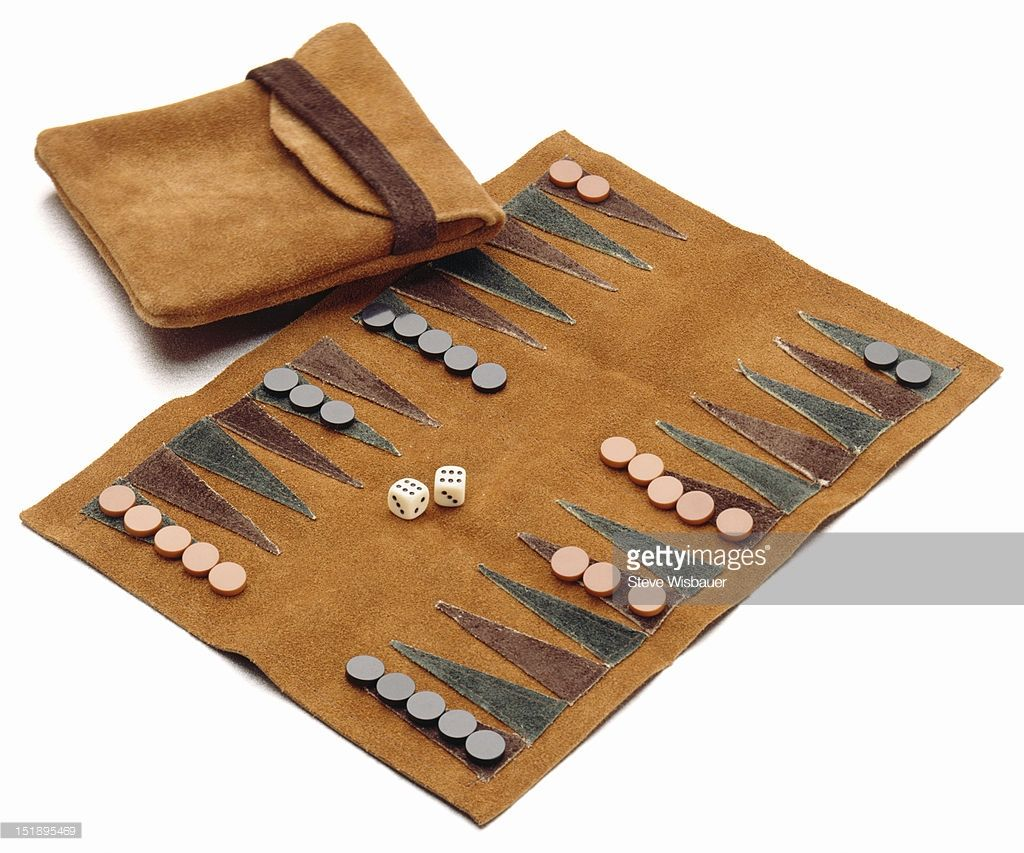 Stock Photo A swede leather roll up travel backgammon