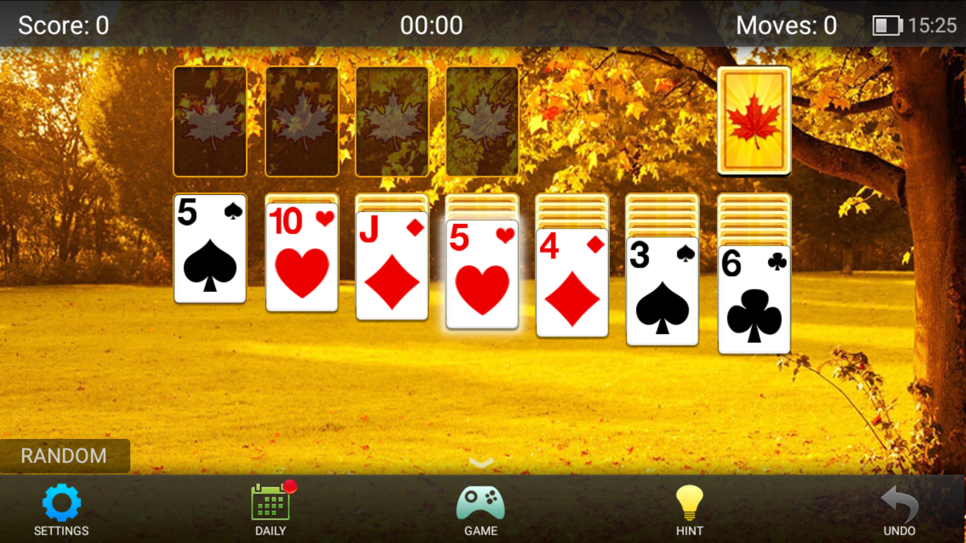Screenshot Image Solitaire card game