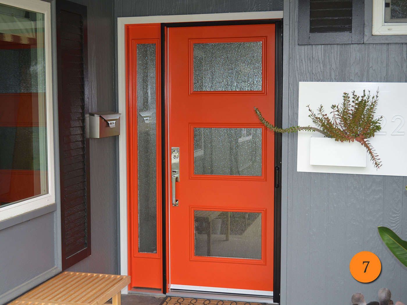Contemporary Red Entry Door Therma Tru Smooth Star Model Pulse Ari S2xj With Sidelight Santa Ana Ca